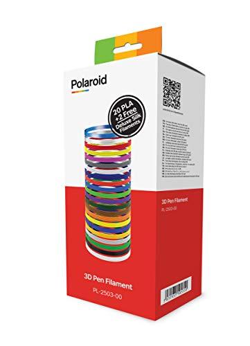 Polaroid PLA-Filament für 3D-Stifte, Box mit 20 Farben, plus 2 Seidenfilamenten
