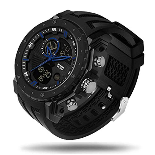 SXXYTCWL Reloj Digital for Hombres Doble Pantalla 50M Impermeable for Hombre Reloj Deportivo con Reloj de Alarma del Temporizador de luz LED Digital Reloj al Aire Libre jianyou (Color : Blue)