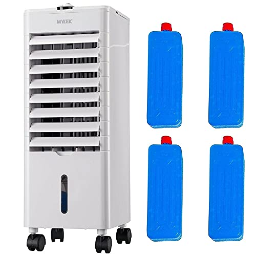 Mylek Air Cooler 4L Portable, 3 Fan Speeds, Easy Fill Water Tank, High Powered Evaporative Coolers Function With 4 Ice Packs & Automatic Oscillation