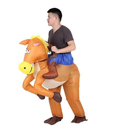 Disfraz hinchable para fiesta de Navidad, Cowboy Rider en caballo