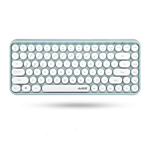 Ajazz ブルートゥース タブレット用キーボード レディースキーボード ワイヤレスキーボード コンパクトキーボード 軽量 Bluetooth キーボード タイプライター 英語配列 (ミントグリーン)