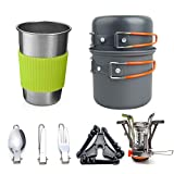 Utensilios de cocina de camping kit con estufa, cocinar al aire libre Set Palo Pot no Ligera y sartenes con mochila de senderismo Utensilios de engranaje de 1 a 3 personas que viajan trekking ,Naranja