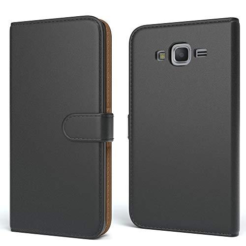 EAZY CASE Tasche kompatibel mit Samsung Galaxy Grand Prime Schutzhülle mit Standfunktion Klapphülle Bookstyle, Handytasche Handyhülle mit Magnetverschluss & Kartenfach, Kunstleder, Schwarz