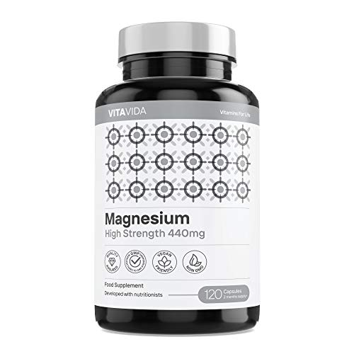 Magnesium Citrate 1480mg Providing 440mg Elemental Magnesium Per Serving - High Dose of Elemental Magnesium - 120 Vegan-Friendly Capsules - Made in The UK by Vita Vida