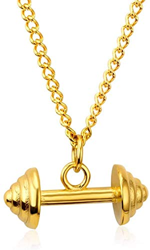 Mxdztu Co.,ltd Collar Collar De Acero Inoxidable para Hombres, Collar con Colgante De Pesas De Color Dorado, Estilo Deportivo, Joyería Hiphop, Uso Diario