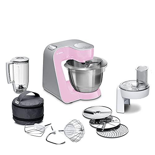 Bosch Hogar Mum 5 CreationLine Robot Cocina, Color Palo, 400 W, 1.25 litros, 1.4, Acero Inoxidable, Rosa/Plata