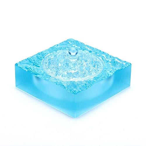 Ceniceros Horno de sándalo Estufa de aromaterapia casera Quemador de Incienso Purificación de Aire Interior Adornos de Vidrio Decoraciones para el hogar 13X6.5cm (Color: Azul)