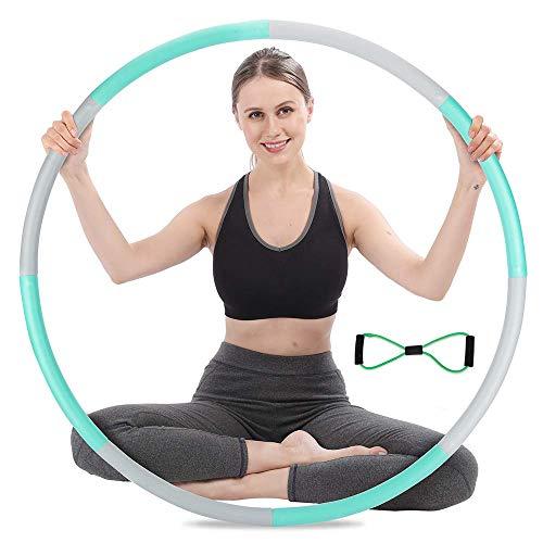 Hula Hoop Reifen Erwachsene, 8 Segmente Hula Hoop Reifen Erwachsene Abnehmen, Edelstahl Hula-Hoop Reifen 1,2-1,5kg, mit Mini Spannungsband03