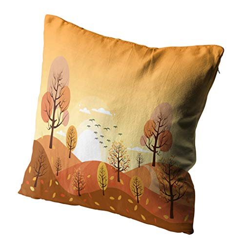Docady 26 x 26 Inch Square Pillowcase Countryside Landscape Autumn Fallen Leaves Grass Mountains Trees Yellow Foliage Decorative Cushion Cover Printing Pillowcase Home Sofa Living Room Bedroom