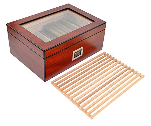 DUCIHBA Desktop Humidor Case Holds 50-75 Cigar, Tempered Glass Top Display, Spanish Cedar Wood Storage Box with Divider& Air Flow Rack, Humidifier and Digital Thermo-Hygrometer, Sapele Cherry Finish
