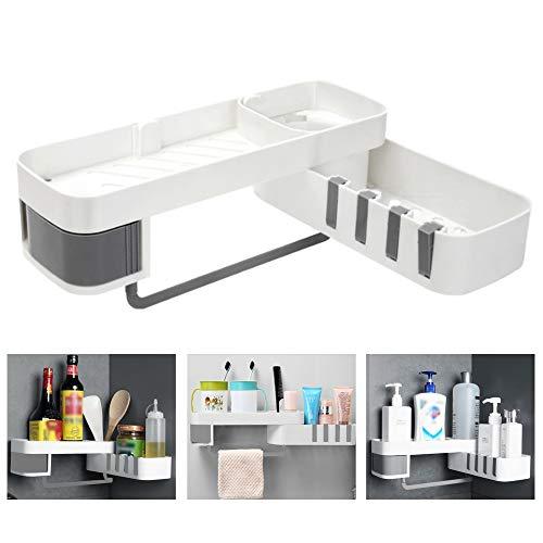 KLYNGTSK Estante organizador de ducha autoadhesivo giratorio para baño con 4 ganchos Ambility esquina de ducha sin taladrar soporte para cesta de baño, cocina