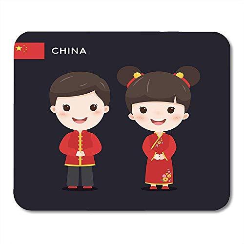 Muis Pads Azië Rode Jongen Kinderen Het dragen van Chinese Traditionele Kostuum Aziatische Muis Pad Voor Notebooks Computers Muis Matten Supplies