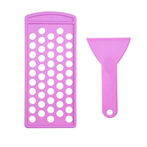 Lip Balm Filling Tray and Spatula Set - Fast and Easy To Use - Just Pour & Spread - Instantly Fills 50 Lip Balm Containers 3/16 Oz (5.5 ml) (sold separately) (Purple)
