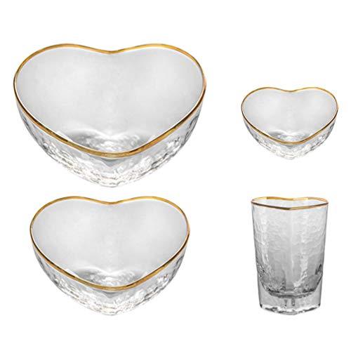 WINOMO Juego de 4 cuencos y tazas de cristal, con forma de corazón, para ensaladas, cereales, frutas, postres, helados, comida, porción, cristalería para casa o café