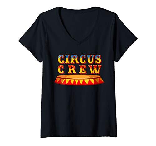 Damen Zirkus Crew Mitarbeiter Geburtstag Karneval Kostüm Geschenk T-Shirt mit V-Ausschnitt