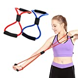 Odowalker 8 Shape Exercise Band Tube 2 Pack Resistance Bands Workout Body Building Fitness Equipment...