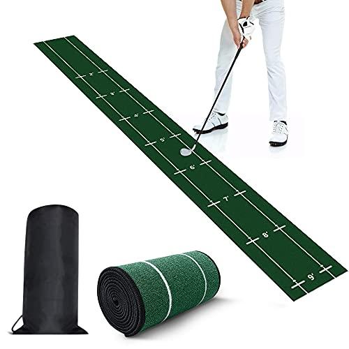 X XBEN ゴルフパター マット、室内ゴルフパター練習マット、距離標識ゴルフパター練習用マット 、TPR裏面滑り止め屋内防音紡績糸材料ゴルフ練習マット、屋内&屋外問わず練習ができるパッティング パター練習マット、専用収納袋 収納便利285*30cm