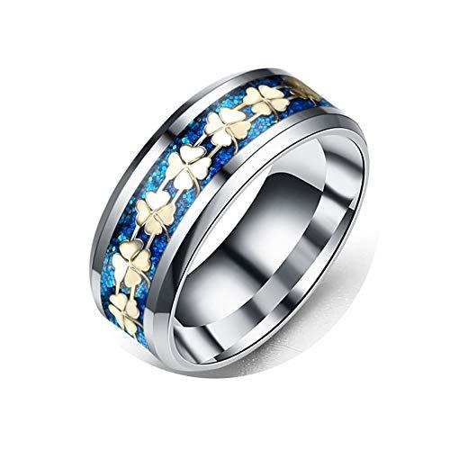 KnBoB Grün Vier Blätter Klee Blau Ringe Damen Ringe Gr.52 (16.6) Edelstahl Ringe