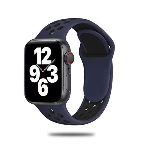 Correa de silicona para Apple Watch Band 44mm 40mm 42mm 38mm Brazalete deportivo de pulsera transpirable Smartwatch para IWatch Serie5 4 3 SE 6-azul oscuro Negro 16, para 42 o 44 Mm