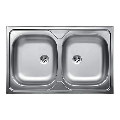 we point Lavello da Cucina Due Vasche in Acciaio Inox da Appoggio 50x80 Cm
