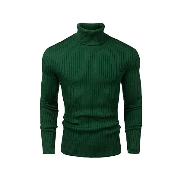 Juedoz Mens Turtleneck Sweater Slim Fit Soft Knitted Basic Pullover Sweater