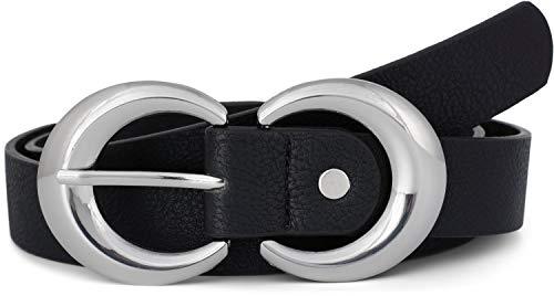 styleBREAKER Damen Gürtel Unifarben mit runder doppelter Schnalle, Hüftgürtel, Taillengürtel, kürzbar 03010106, Größe:85cm, Farbe:Schwarz