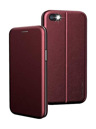 Handyhülle iPhone 8 Hülle Rot, iPhone 7 Hülle [iPhone SE 2020 Hülle Deluxe Leder Flip-Hülle Klapphülle] Cover Schutzhülle kompatibel für iPhone 8/7 / SE 2020 Tasche