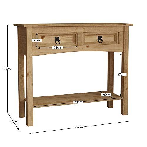 Vida Designs Corona Console Table, 2 Drawer With Shelf, Solid Pine Wood