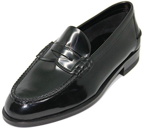 58.LOTTUSSE.Zapato mocasín con Antifaz;Piel de máxima Calidad,Color Negro. (10.5)