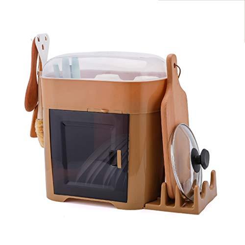 SLL- Caja de almacenamiento de vajilla con tapa de drenaje para cocina, hogar, estante de drenaje, armario multifuncional simple (color: C)