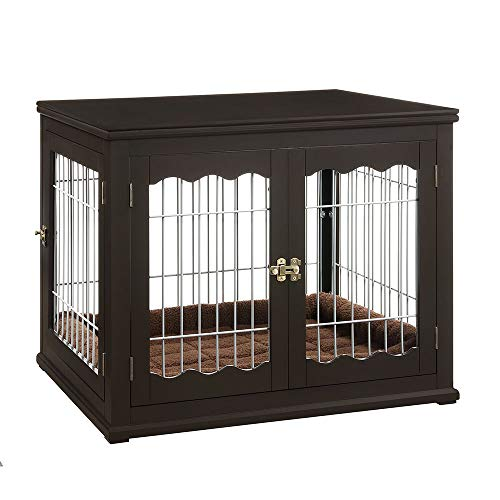unipaws Pet Crate End Table with Pet Bed, Wooden...