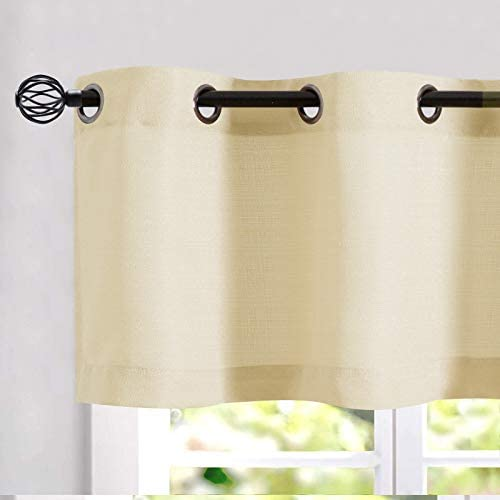Kitchen Valance Semi Sheer Curtains 18 inch Long Grommet Top Curtain Casual Weave Privacy Textured product image