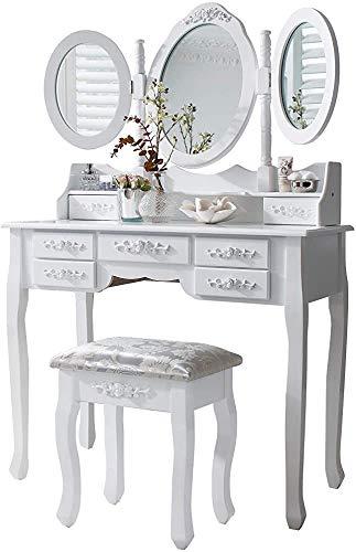 Set di tavolini, sgabelli e specchi, 7 cassetti, sgabelli e kit a specchio,White