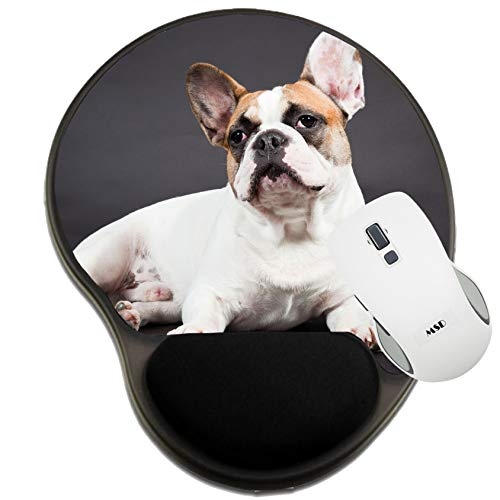 MSD Mousepad Wrist Rest Protected Mouse Pads, Mat with Wrist Support, Brown White French Bulldog Isolated on Black backgro