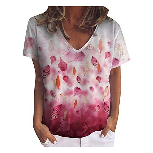 Chaleco Mujer, Camisetas Mujer, Camisas Mujer, Camiseta Corta Mujer, Blusas Mujer, Tops Mujer, Camiseta De Manga Corta Suelta Informal con Estampado Floral Y Cuello Redondo De Verano para Muje