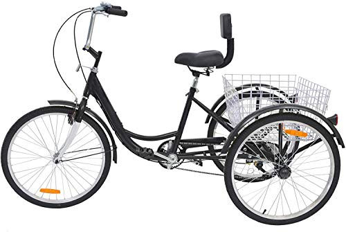 San Qing Adulte Tricycles Trois Roues Trike Bike Cruiser 1 Vitesse, 20 Pouces Roues Adultes Trikes 3...