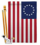 Americana Home & Garden HS140704-BO Betsy Ross Americana Historic Decorative Vertical House Flag Set, 28'x 40' w/Flagpole, Multi-Color