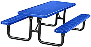 8' Rectangular Plastic-Coated Metal City Series Picnic Table - Blue