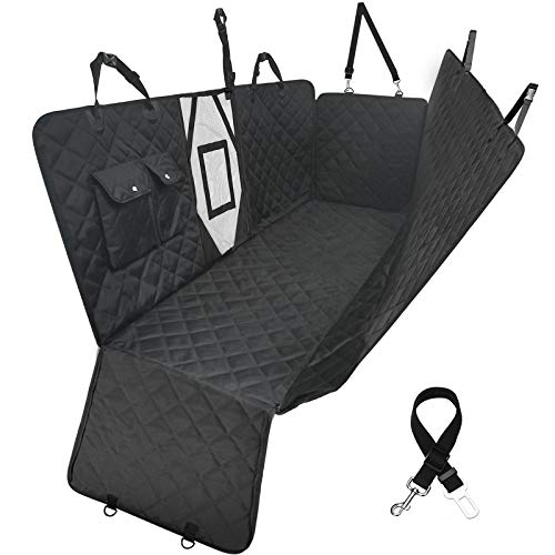 LumoLeaf Dog Car Seat Cover Protector, Nonslip Waterproof Hammock Backseat Cover with Visible Mesh & Storage Pocket, Durable Scratchproof Seat Protection Against Dirt Pet Fur for Cars SUVs Trucks.