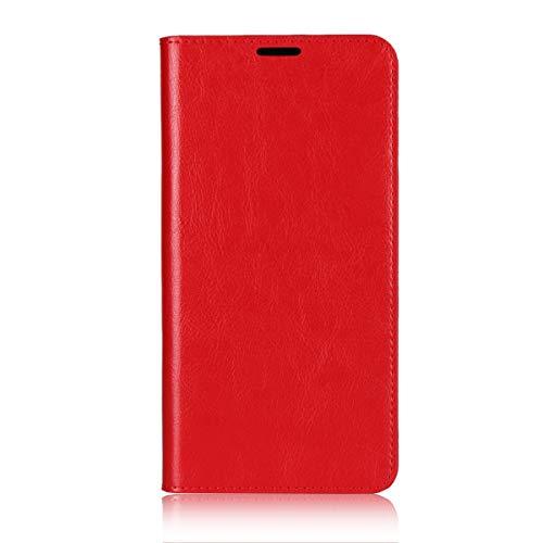 Sunrive Für Xiaomi Mi MAX 3, Echt-Ledertasche Schutzhülle Hülle Standfunktion Flip Lederhülle Hülle Handyhülle Schalen Kreditkarte Handy Tasche(rot)+Gratis Universal Eingabestift
