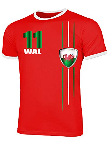 Wales Fanshirt Fussball Fußball Trikot Look Jersey Herren Männer Ringer Tee t Shirt Tshirt t-Shirt Fan Fanartikel Outfit Bekleidung Oberteil Hemd Artikel