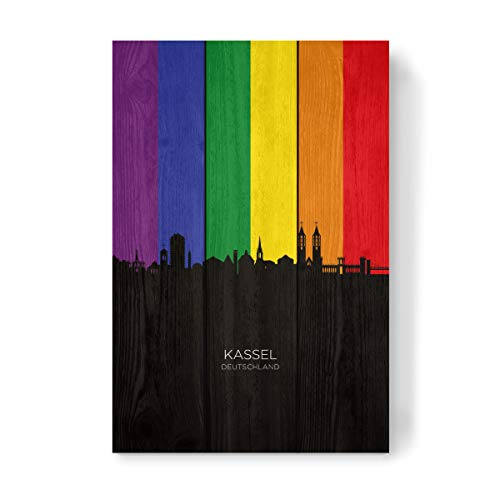 artboxONE Holzbild 45x30 cm Städte Kassel Germany Skyline Pride von Künstler Michael Tompsett