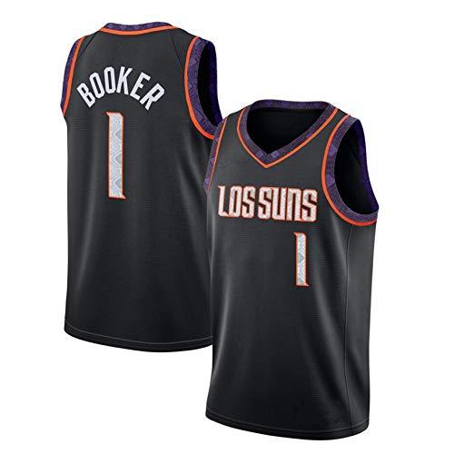 WGFI Herren Basketball Trikot - Phoenix Suns Devin Booker # 1 City Edition Basketball Uniform Stickerei Swingman Trikot Ärmelloses Sportwesten Top Black-L