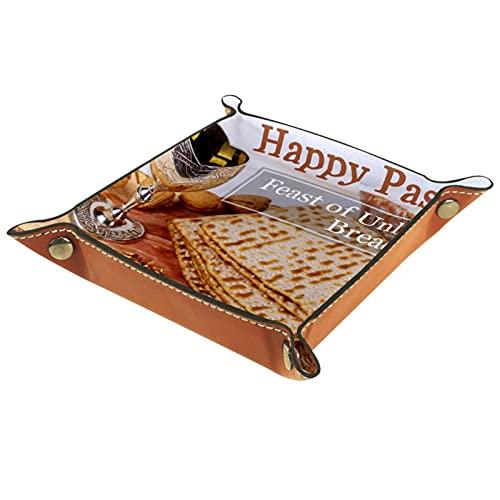 Valet Tray, PU Leder Catchall, Tray Organizer, Aufbewahrungsbox für Uhren Schmuckmünzen Key Wallet Happy Pessach Fest der ungesäuerten Brot
