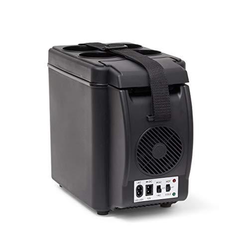 Relaxdays koelbox elektrisch, 6 l isolatiebox voor auto, draagriem, warmhoudbox 12 V 230 V, H x B x D: 27 x 18 x 33 cm, zwart