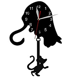 YJSMXYD Wall Clocks for Living Room Cat and Mouse Pendulum Clock Suitable for Office Restaurant Bedroom Kids Room Cafe Hotel 28 cm Acrylic Birthday Present Black