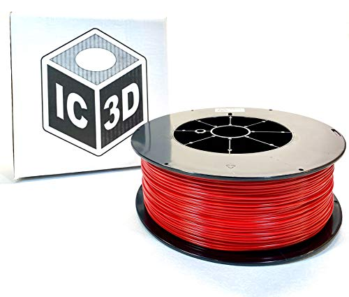 IC3D Red 3mm ABS 3D Printer Filament - 2.5kg Spool - Dimensional Accuracy +/- 0.05mm - Professional Grade 3D Printing Filament - Made in USA