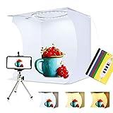 PULUZ 31cm Ring Light Photo Studio Light Box, Adjustable Portable Photography Shooting Light Tent Kit with White/Warm/soft Lighting 80pcs LED Lights + 6 Backdrops for Product Display