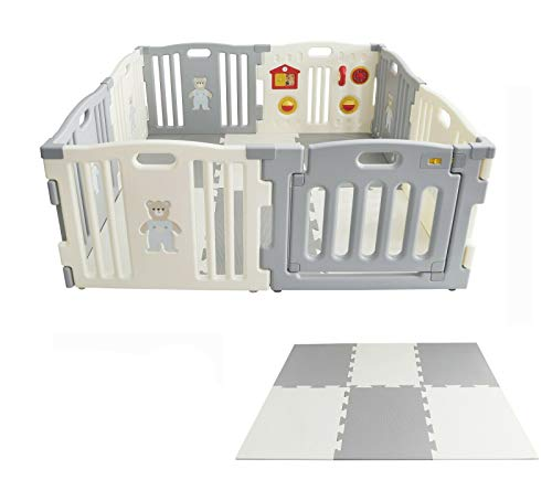 MCC Grey Plastic Baby Playpen with Activity panel & Floor Mats 8 Sides in Grey