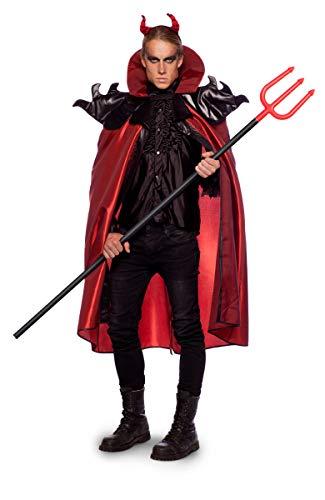 Folat 63429 Teufel Umhang mit Kopfstück Halloween Fasching Karneval (XL/XXL), Red